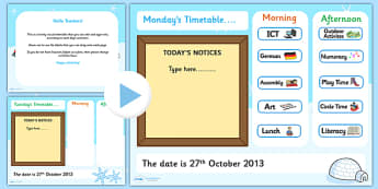 KS1 Visual Timetable Interactive PowerPoint Winter - KS!, timetable, interactive, powerpoint, winter, winter powerpoint, interactive powerpoint, visual