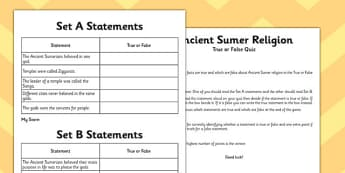 Ancient Sumer Religion True or False Game - sumer, true, false