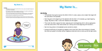My Name Is... Activity - words, think, challenge, alphabet, letters, chant, sing, clap