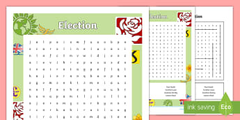 Election Word Search - vote, voting, election, candidates, party, government