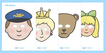 Story Role Play Masks to Support Teaching on The Jolly Postman - blue, postman, jolly, letter, Janet Ahlberg, Cinderella,  role play mask, role play, story, story book, book resources, Three Bears, wolf, gian, goldilocks, postcard, witch, palace