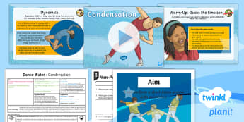 PlanIt - PE Year 4 - Dance: Water Lesson 4 - Condensation -  physical education, exercise, Y4, year 4, LKS2, key stage 2, planning, plans, powerpoint, unison, c