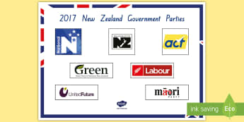2017 Government Parties Display Poster - New Zealand, 2017 Elections, Government, National, Greens, Labour, New Zealand First, Parliament, Ma