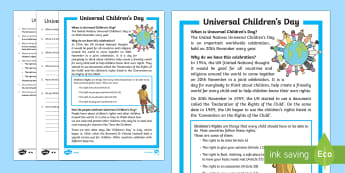 KS1 Universal Children's Day Differentiated Reading Comprehension Activity