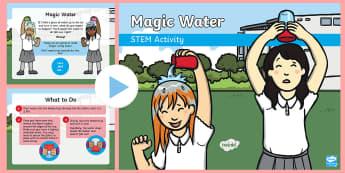 Magic Water PowerPoint - Make a splash!, STEM, KS1, Science, Experiment, magic, water, plastic cup.