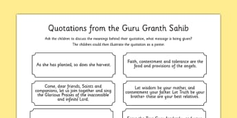 Guru Granth Sahib Quotes Discussion Activity - sikhism, RE