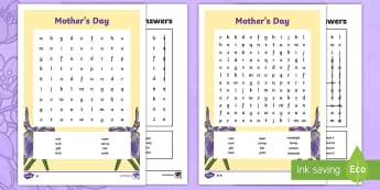 Mother's Day Word Search - ESL Mother's Day Word Search