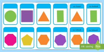 2D Shape Cards German - german, 2d shape, cards, 2d, shape, maths, numeracy, 2d formen