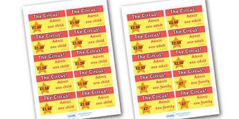 Circus Tickets - circus, ticket, clown, juggler, word card, flashcards, cards, acrobats, big top, magician, monkey, ring master, trapeze, horse, elephant, lion tamer, stilts, sea lion