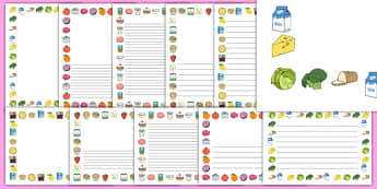 Food Themed A4 Page Border - food, page border, writing borders, A4, border, good eating, healthy snack, snack, independent writing