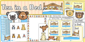 Ten in a Bed Resource Pack - ten in a bed, resource pack, pack of resources, themed resource pack, ten in a bed pack, resources, nursery rhymes, lessons