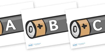 A-Z Alphabet on Batteries - A-Z, A4, display, Alphabet frieze, Display letters, Letter posters, A-Z letters, Alphabet flashcards
