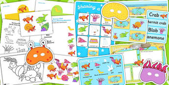 Story Sack to Support Teaching on Sharing a Shell - story books, stories, story, pack