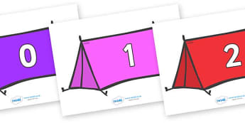 Numbers 0-100 on Tents - 0-100, foundation stage numeracy, Number recognition, Number flashcards, counting, number frieze, Display numbers, number posters