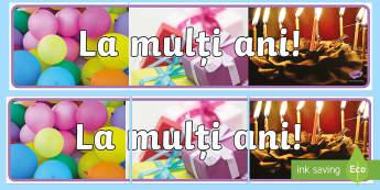 La mulți ani! Banner - decor cu folos, zile de naștere, aniversări, decorul clasei, amenajarea clasei,Romanian