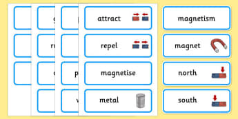 Magnetism Word Cards - Magnet, magnets, magnetic, word card, card, flashcards, non-magnetic, north, south, poles, forces, movement, science, knowledge and understanding of the world
