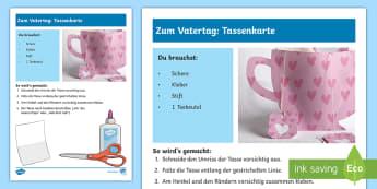Zum Vatertag: Tassenkarte Anleitung für Lehrkräfte - Vatertag 25/5, Geschenk, Basteln, Kl.1/2, Father's Day, present, craft, EYFS/KS1,German