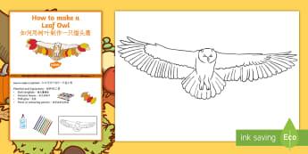 Leaf Owl Craft Instructions English/Mandarin Chinese - Autumn, seasons, september, october, topics, ks1, harvest, hibernation, reception, EYFS, owl, animal
