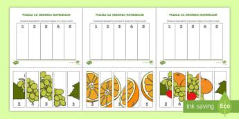Puzzle cu fructe pentru ordonarea numerelor Activitate - fructe, legume, numerație, numără crescător, 0-5, numerele,Romanian