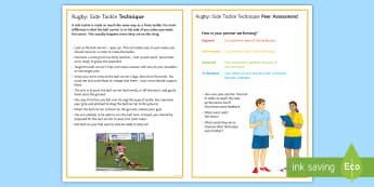Rugby: Side Tackle Techniques Card - Rugby, Tackling, Technique, Side on, self assessment, peer assesmnet