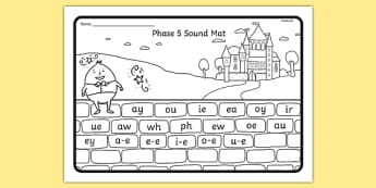 Humpty Dumpty Themed Phase 5 Sound Mat - humpty dumpty, phase 5, sound mat