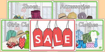 Clothes Shop Posters - australia, Clothes shop Role Play, clothes shop resources, shop, till, buy, money, clothes, ourselves, shoes, role play, display, poster