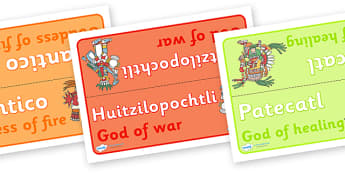 Aztec God Group Table Signs - Aztec, aztec people, Mexican, group signs, group labels, group table signs, table sign, teaching groups, class group, class groups, table label, history, Mexico, tenochtitlan, texcoco, lake, temple, tenoch, Valley of Mex