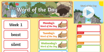 Year 1 Autumn 1 Word of the Day Display Pack - word of the day, word cards, ambitious vocabulary, word wall, high level vocabulary, word of the day