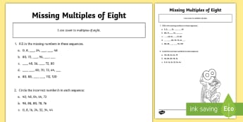 Missing Multiples of Eight Sequence Activity Sheet - 8x tables, multiplication tables, eight times, year 3, count from 0 in multiples of 4, 8, 50 and 100