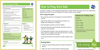 Kick Ball Adult Guidance - PE Curriculum Aims KS2, Play competitive games, modified where appropriate, and apply basic principl