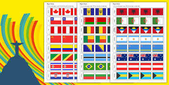 Rio Olympics 2016 Country Flags Paper Chain - rio olympics, 2016 olympics, country, flags, paper chain