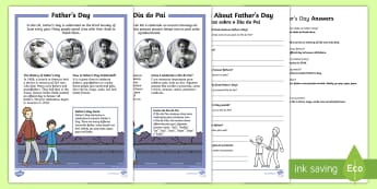 KS1 Father's Day Differentiated Reading Comprehension Activity English/Portuguese - Father's Day, KS1 reading, celebrations, events, non-fiction, comprehension, questions, fact file,