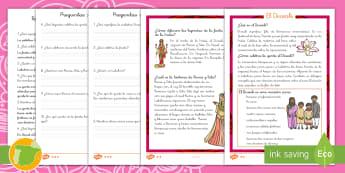 Comprensión Lectora: El Diwali - Diwali, hinduismo,hindú, hindúes, religión, fiesta, festival, celebración, culturas, dioses, mit