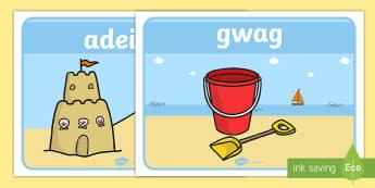 Posteri Arddangos Geirfa Yr Ardal Dywod - Ar Lan y Môr, Seaside, Under the Sea, sea, maths, seaside maths, ordering, numbers, tynnu, subtract