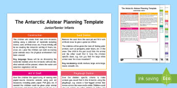 The Antarctic Aistear Planning Template - Aistear, Infants, English Oral Language, School, The Garda Station, The Hairdressers, The Airport, T