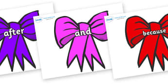 Connectives on Bows - Connectives, VCOP, connective resources, connectives display words, connective displays