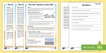 UAE Four Seasons Differentiated Reading Comprehension Activity - UAE seasons, UAE science, UAE about, UAE fact file, UAE Weather