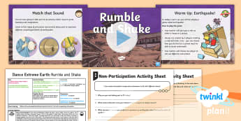 PlanIt - PE Year 3 - Dance Extreme Earth Lesson  2: Rumble and Shake  - Dance Extreme Earth, PE, Physical Education, Imagination, Stimulus, Volcanoes, Y3, LKS2 Gymnastics,