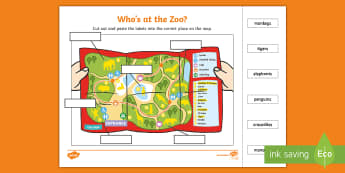 Who's at the Zoo? Cut and Paste Labelling Activity Sheet - exploring my world, Aistear, Play, Zoo, Animals, reading, spelling, Irish, worksheet