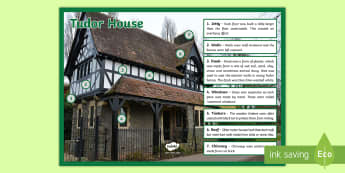 Tudor House Information Display Poster    - ks2, tudor house, history, british history, history beyond 1066, key words, vocabulary, features