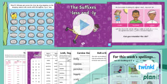 PlanIt English Y2 Term 3A W2: The suffixes -less and -ly Spelling Pack - Spellings Year 2, Term 3A, Week 2, suffixes, less, ly