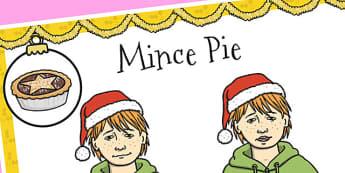 A4 British Sign Language Sign for Mince Pie - sign language, pie