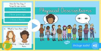 Presentación con audio: La descripción física - Inglés  - body, description, lengua extranjera, english, inglés, audio,Spanish-translation