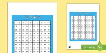 100 Square - number square, 100, number recognition, large numbers, math, Worksheet