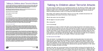 How to Talk to Children About Terrorist Attacks - how, talk, children, terrorist, attacks, extremism,
