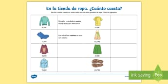 Expressing Prices in Euros Activity Sheet - Spanish  - clothes, euros, money, cost, maths, numbers