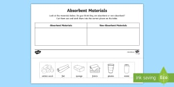 Absorbent Materials Cut and Stick Activity - Identify and compare the suitability of a variety of everyday materials, Compare and group together