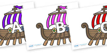 A-Z Alphabet on Viking Longboats - A-Z, A4, display, Alphabet frieze, Display letters, Letter posters, A-Z letters, Alphabet flashcards