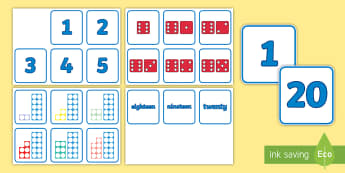 Numbers, Number Shapes and Dice Matching Cards  - Visual Numberline Posters 0 20 - count, counting, counting aid, number line display, numberline disp