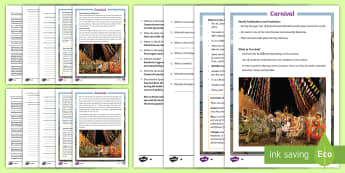 KS2 Carnival Differentiated Reading Comprehension Activity - KS2, reading, English, comprehension, carnival,